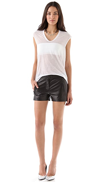 EDUN Perforated Leather Shorts
