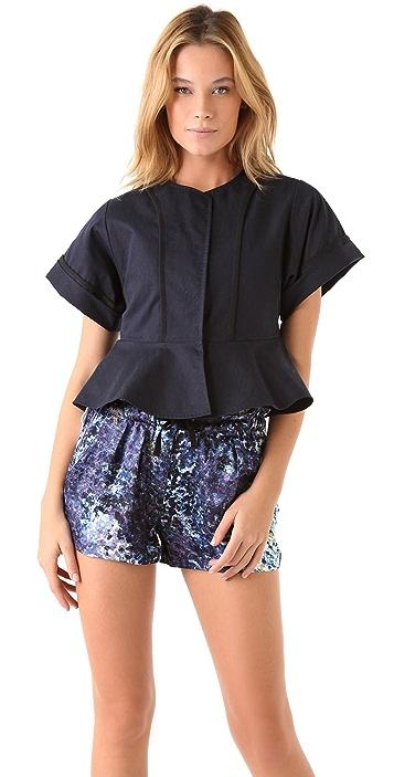 EDUN Short Sleeve Peplum Jacket