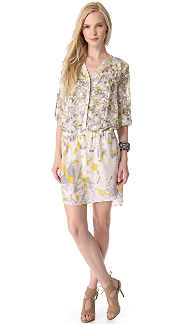 EDUN Bleach Camo Print Shirtdress