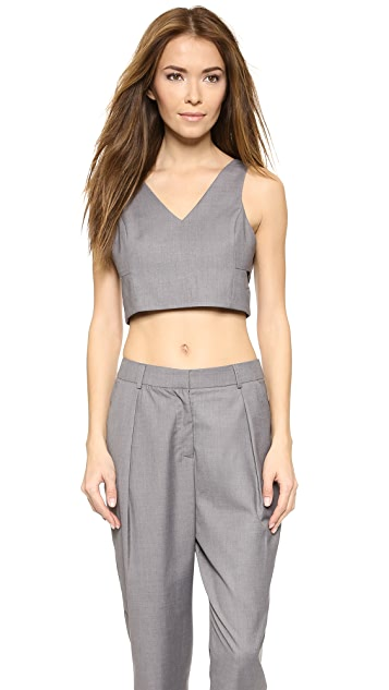 ENGLISH FACTORY Cutout Crop Top