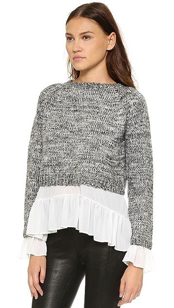 ENGLISH FACTORY Layered Flounce Sweater