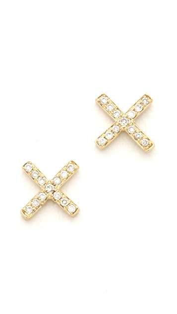 EF Collection Pave Diamond X Stud Earrings
