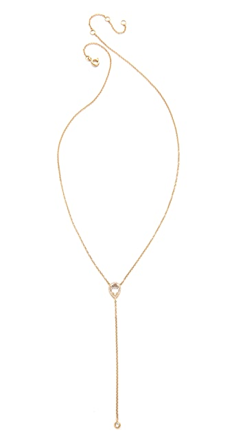 EF Collection Diamond White Topaz Lariat Necklace