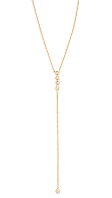 EF Collection 14k Gold Diamond 5 Bezel Lariat Necklace