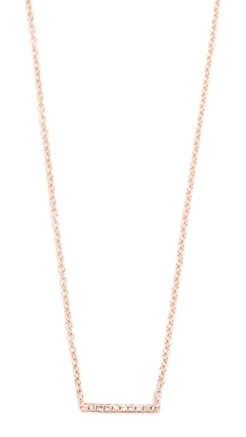 EF Collection 14k Gold Diamond Mini Bar Necklace - Rose Gold