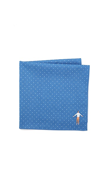 East Dane Gifts Embroidered Man Cross Stitch Handkerchief