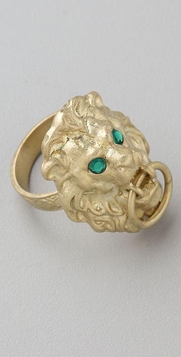 Erica Klein Lion Door Knocker Ring with Swarovski Crystals
