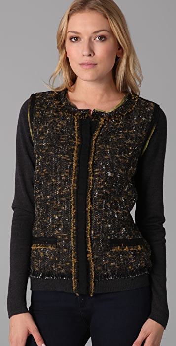 Elie Tahari Rachel Sweater with Tweed Front