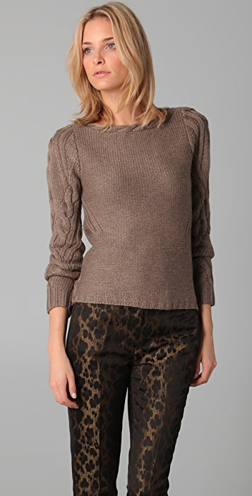 Elie Tahari Laurine Cable Knit Sweater