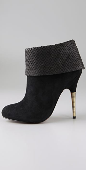 Elizabeth and James Rizzo Suede Cuff Booties with Metal Heel