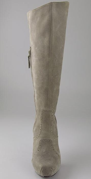 Elizabeth and James Franky Suede Square Toe Boots on Hidden Platform