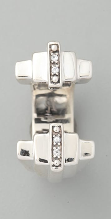 Elizabeth and James Deco Double Ring with White Sapphire Stones