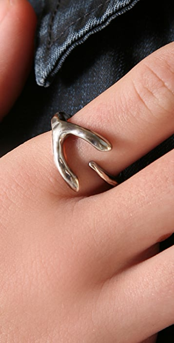 Elizabeth and James Curled Wishbone Ring