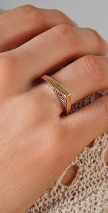 Elizabeth and James Two Tone Open Feather Ring