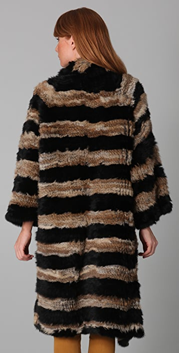 Elizabeth and James Salma Rabbit Fur Coat