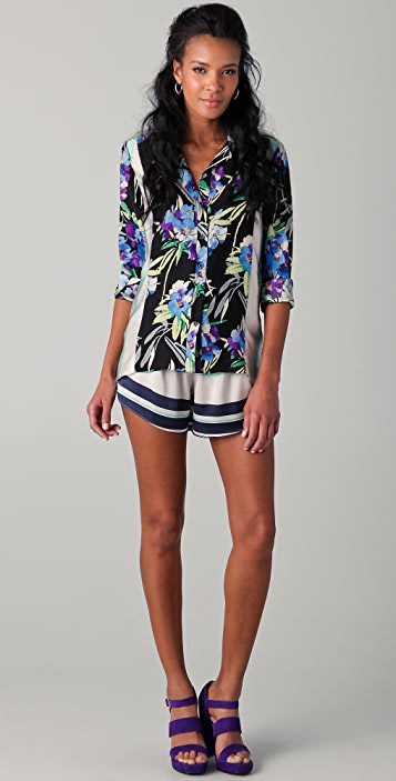Elizabeth and James Floral Luxe Pajama Blouse