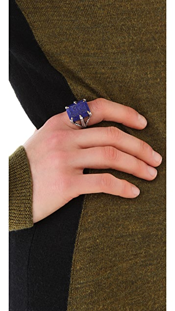 Elizabeth and James Bird Claw Ring with Lapis