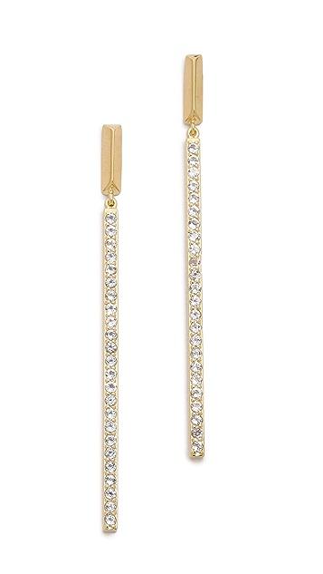 Elizabeth and James Bauhaus Pave Long Bar Earrings