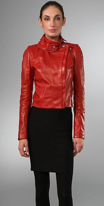 Elise Overland Cropped Leather Fencing Jacket