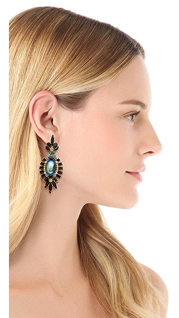 Elizabeth Cole Large Oval Drop Earrings