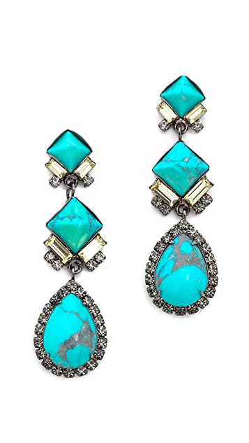 Elizabeth Cole Pyramid & Pear Drop Earrings