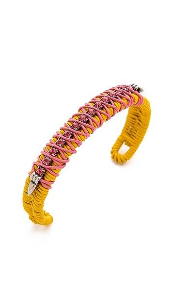 Elizabeth Cole Leather & Chain Cuff Bracelet