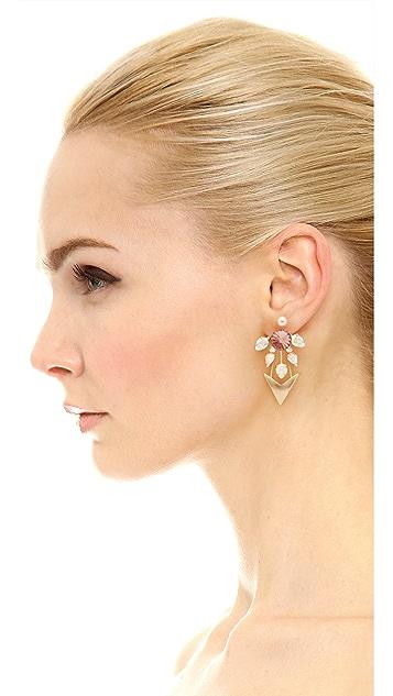 Elizabeth Cole Asymmetrical Stone Earrings