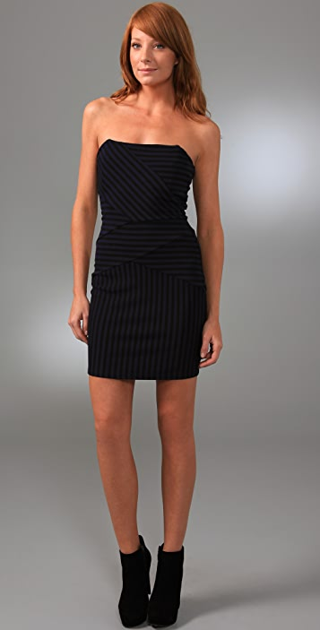 Ella Moss Strapless Striped Pierre Dress