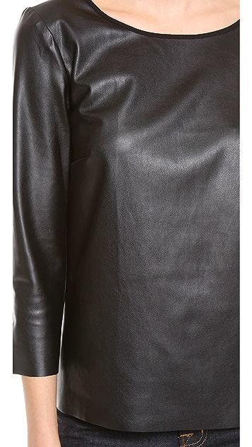 Ella Moss Sandra Faux Leather Long Sleeve Top