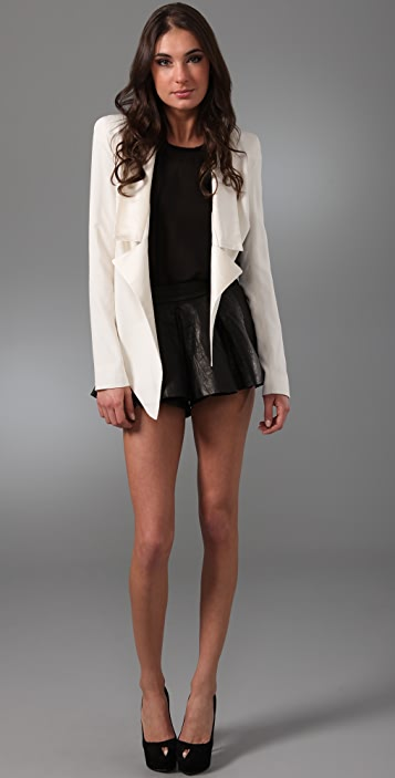 Ellery Vain Skirted Leather Shorts
