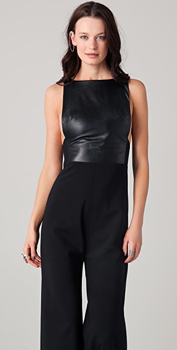 Ellery All In One Jumpsuit with Leather Bodice