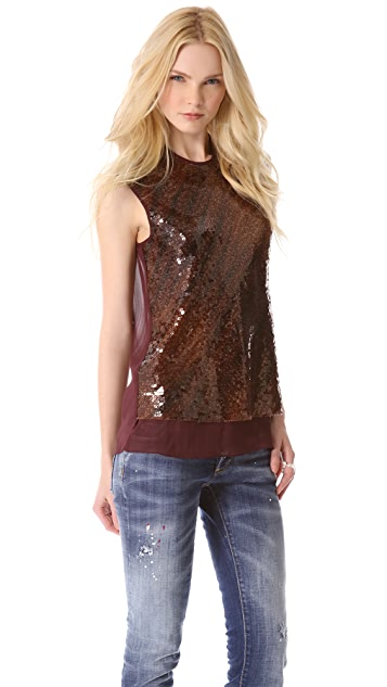 Ellery Sequined Singlet Top