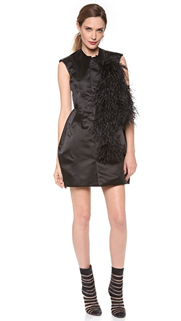 Ellery Renegade Vest Dress with Ostrich Feathers