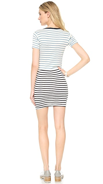 Edith A. Miller Combo Crew Neck Mini Dress