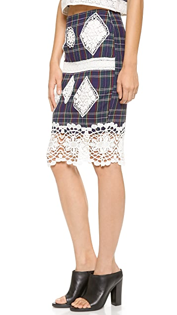 endless rose Plaid and Lace Skirt