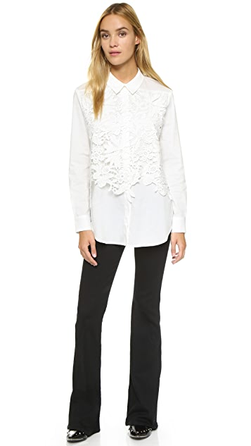 endless rose Lace Placket Button Down Shirt