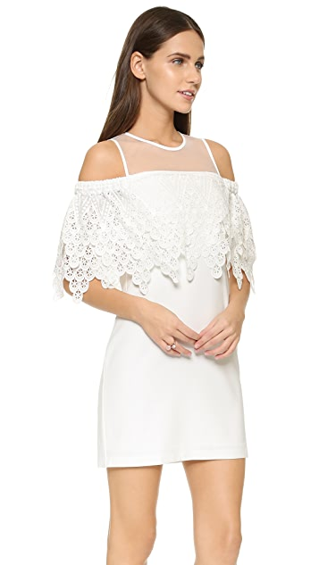 endless rose Cold Shoulder Lace Mini Dress