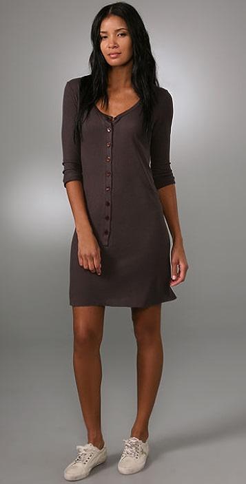 Enza Costa Rib 3/4 Henley Mini Dress
