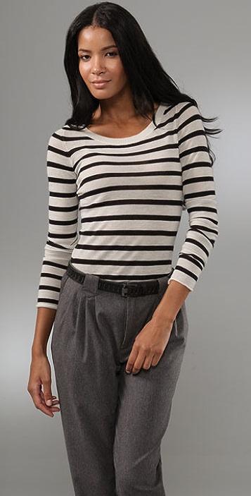 Enza Costa Striped Cashmere Crew Sweater