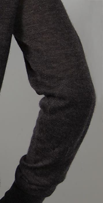 Enza Costa Loose Scoop Sweater with Elbow Patches