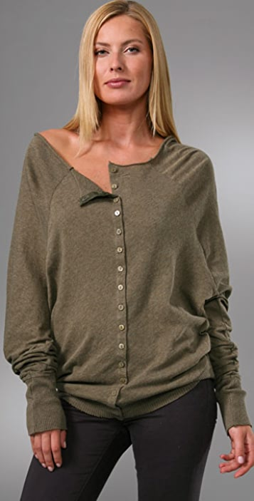Enza Costa Cotton Cashmere Reversible Cardigan