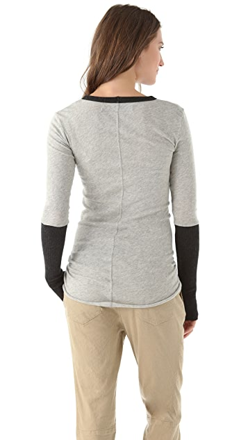 Enza Costa Colorblock Crew Neck Top