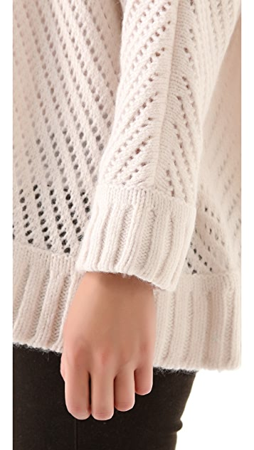 Enza Costa Oversized Basket Weave Sweater