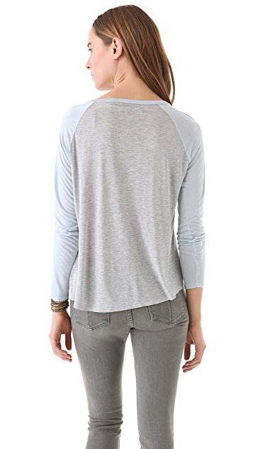 Enza Costa Colorblock Long Sleeve Tee