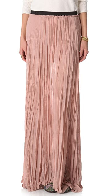 Enza Costa Chiffon Pleated Maxi Skirt