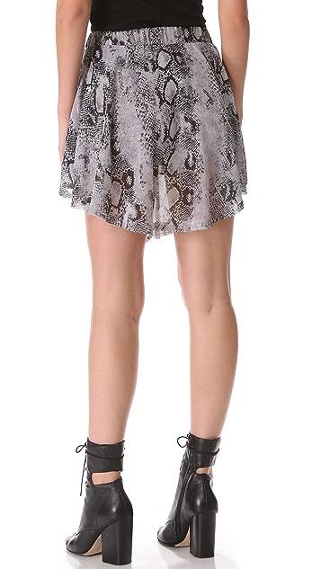 Enza Costa Chiffon Baseball Miniskirt