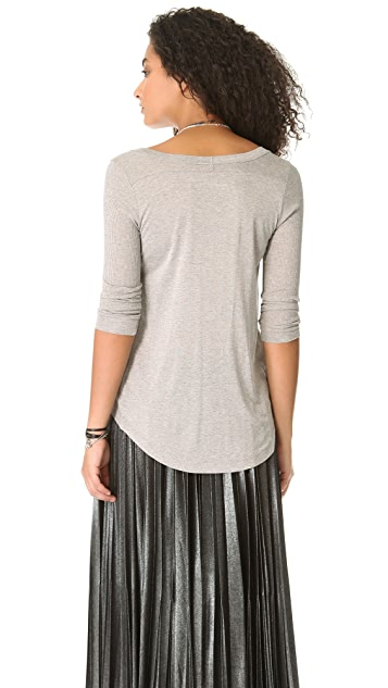 Enza Costa Rib Panel Long Sleeve Tee