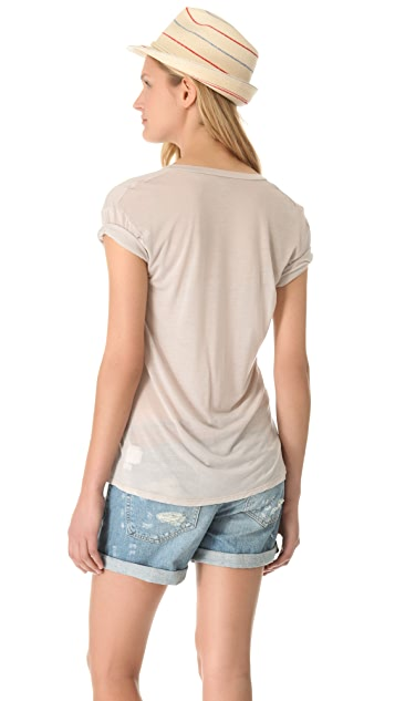 Enza Costa Short Sleeve V Neck Tee