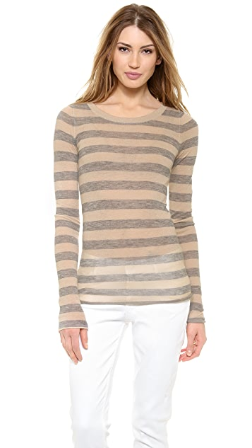 Enza Costa Cashmere Stripe Crew Neck Sweater