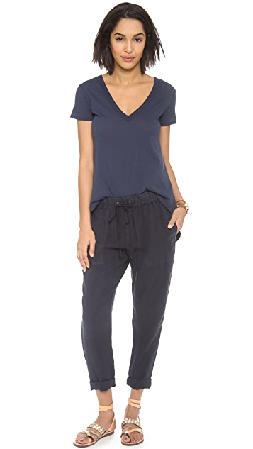Enza Costa High Low V Neck Tee